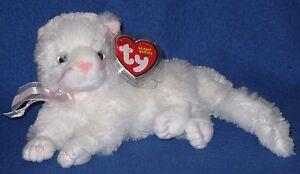 TY BIANCA the WHITE CAT BEANIE BABY - (ORIGINAL VERSION) - MINT with MINT TAGS