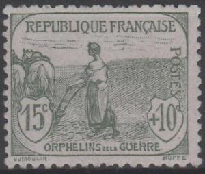 FRANCE-STAMP-TIMBRE-N-150-034-ORPHELIN-GUERRE-15c-10c-GRIS-VERT-034-NEUF-xx-TTB