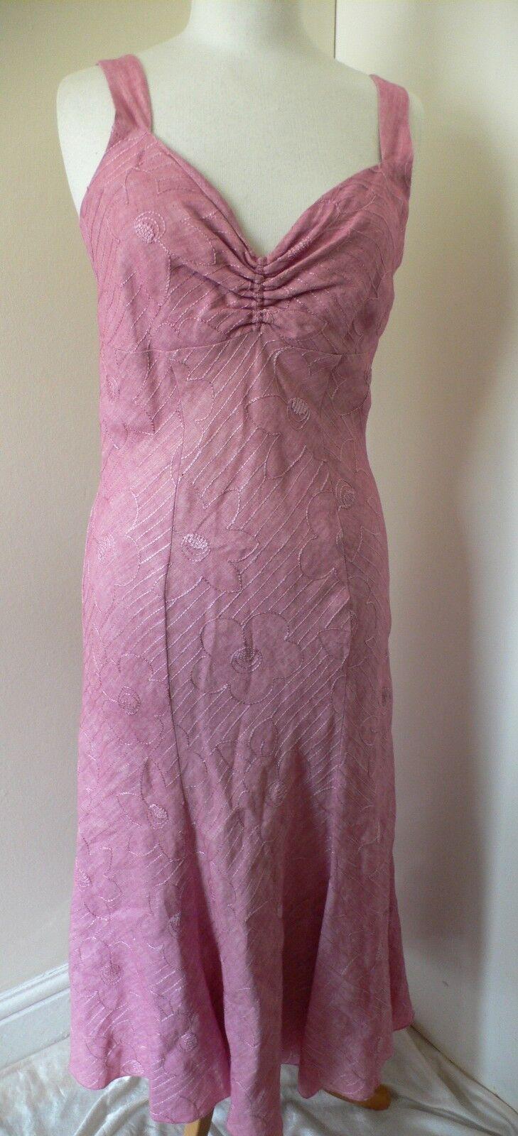 10-12 Pink Linen Dress by Sophia Pigozzi very 1930s Style Downton Durrells