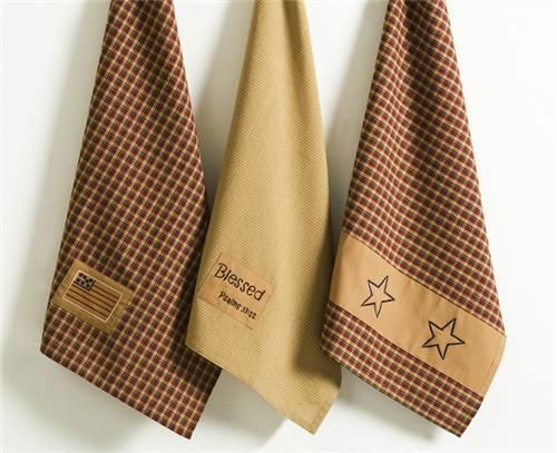 Patriotic 3 Assorted Tea Towels 100/% Cotton Blessed Star