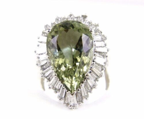 Fine Pear Cut Green Amethyst Ring wBaguette Diamond Halo 14k White Gold 17.15Ct