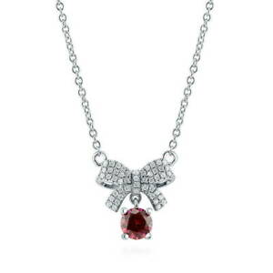 2-Ct-Round-Cut-Ruby-Diamond-Bow-Engagement-Pendant-amp-Chain-14k-White-Gold-Over