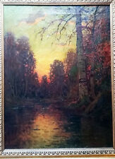 Beautiful Antique Oil of Birch Trees at Sunset in New England by W. Paskell. NH