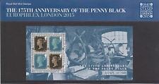 GB Londra 2015 Europhilex 175th ANNIVERSARIO PENNY BLACK minisheet Ltd Edition
