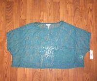 Pacsun Kirra Aqua Lace Short Sleeve Crop Top Women's Size S