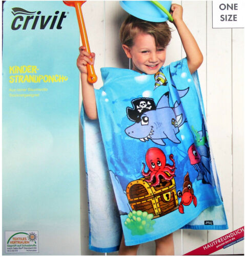 Kinder Strandponcho Mädchen und Jungen mit Kapuze Badetuch Strandtuch Bademantel