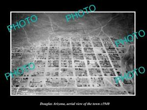 OLD-LARGE-HISTORIC-PHOTO-DOUGLAS-ARIZONA-AERIAL-VIEW-OF-THE-TOWN-c1940