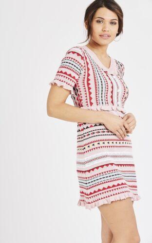 New Women Ladies Pink Striped Knitted Short Sleeve BodyCon Metallic Mini Dress