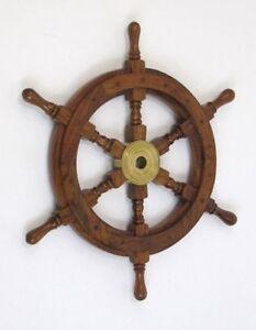 """SHIP WHEEL WOODEN 18/""""D ~ WOODEN SHIP WHEEL ~ PIRATE DECOR ~ NAUTICAL"""