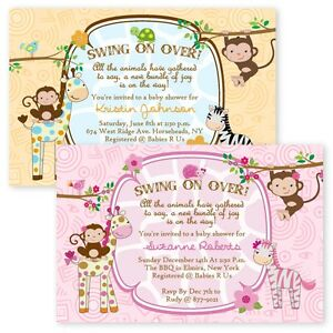 Jungle baby shower invitations girl boy twin giraffe custom monkey image is loading jungle baby shower invitations girl boy twin giraffe filmwisefo