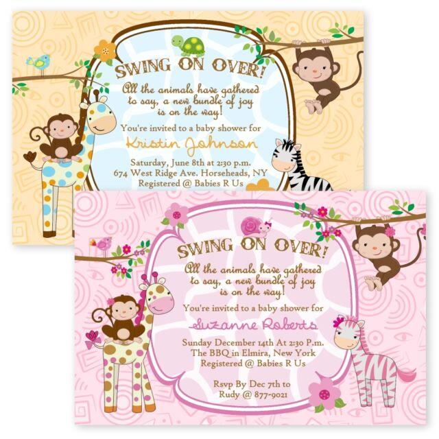 Jungle Baby Shower Invitations Girl Boy Twin Giraffe Custom Monkey Invitation