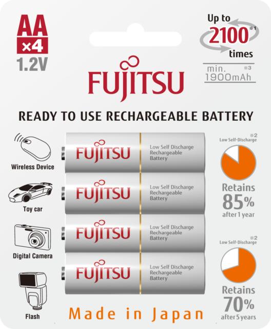 2450mAh x 12 Batteries Fujitsu Ready-to-use AA Rechargeable Battery NiMH 1.2V Min