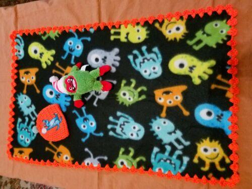 Crochet Trimmed Fleece Blankets with Plush #BB070 1 New Baby Blanket #BB061