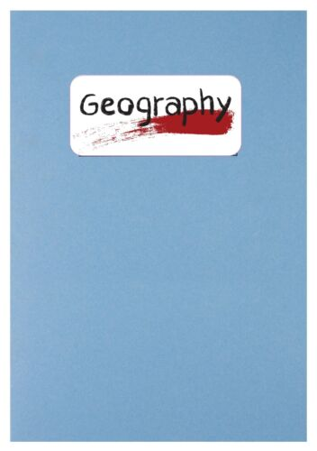 School exercise book ring binder subject sticker label Economics Maths Geography