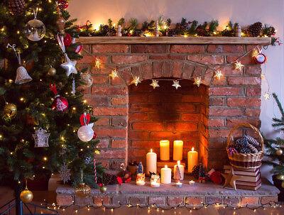 Candle Fireplace Xmas Tree Studio Backdrop Photography Props Photo Background Lb Ebay