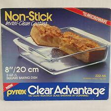 "NIB ~ Pyrex #222-NS Clear Glass Square Brownie Baking Dish 8"" X 8"""