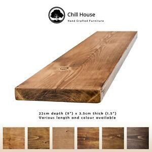 Rustic Floating Shelf Wood Solid Chunky Handmade with Brackets 9x1.5