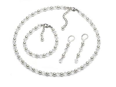 Wedding Jewellery Set White Pearl & Crystal Necklace Drop Earrings Bracelet S853