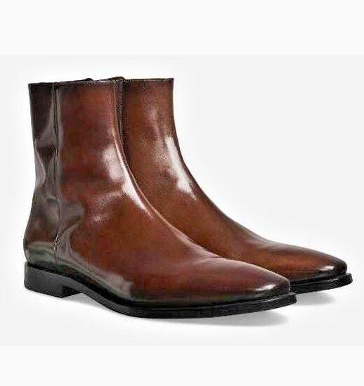 botas al tobillo de hombre hecho a mano formal, botas con cremallera de una sola pieza, botas Marrón Hombres Formal