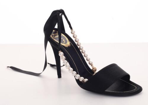 Orné Caovilla Sandale Rene Noir Talon Plates Haut Lanière Chaussures Perle Satin xfxCYSwdq