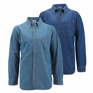 Men-039-s-Cotton-Denim-Long-Sleeve-Button-Up-Collared-Classic-Casual-Dress-Shirt