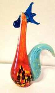 Art-Glass-Rooster-Hen-Murano-Style-Multicolor-Blown-Glass-10-034-Tall
