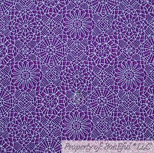 BonEful-FABRIC-FQ-Cotton-Quilt-VTG-Purple-White-Damask-Lace-Flower-Pattern-Print