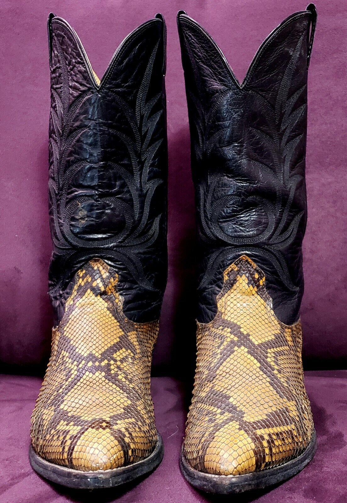 NOCONA Snakeskin Western Cowboy Boots,9D, USA