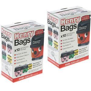 Pack de 10 Véritable aspirateur Numatic Hepa-Flo NVM-1CH Sacs Aspirateur 604015 HENRY HVR200-22