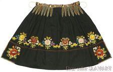 ANTIQUE Czech folk costume embroidered apron Moravian kroj black floral ethnic