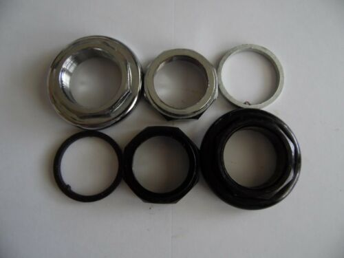 """Bike 1-1//8/"""" threaded headset lock spacer and lock nut x 3pcs black or silver ."""