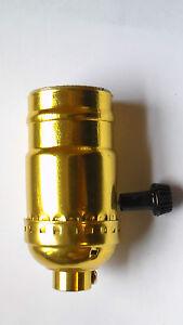 New 3 Terminal Brass Turn Knob Lamp Socket For Standard