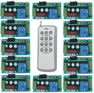 AC220V 1CH RF Wireless Remote Control Switch System,12CH Transmitter+ Receivers