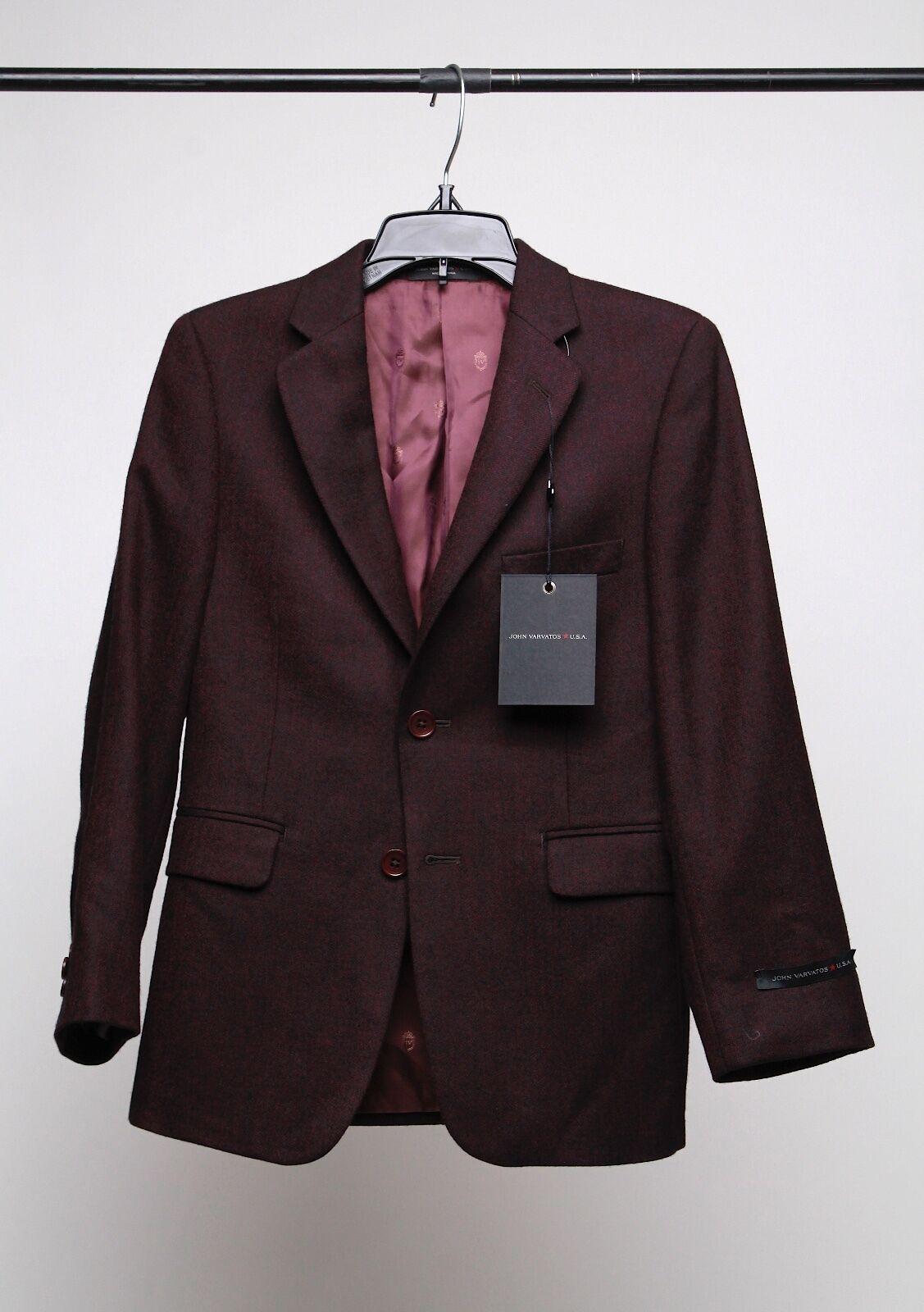John Varvatos Boys' Herringbone Sport Coat Burgundy Size 8R