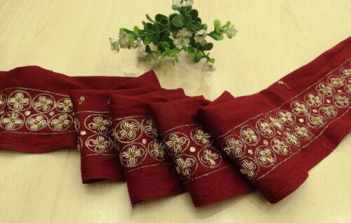 Vintage saree Border Indian Sari Hand Beaded Maroon Sewing 1YD Ribbon