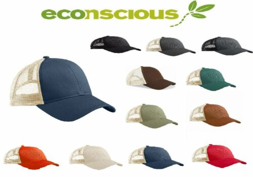 100/% Organic Recycled ECO Unisex Hat Econscious Re2 Trucker Style Baseball Cap