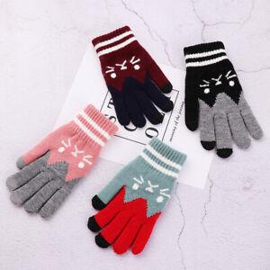 un-vrai-doigt-laine-tricotees-cat-printing-touchez-l-039-ecran-les-gants-de-chaud