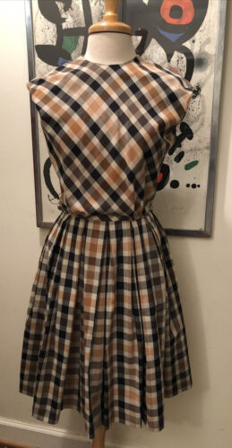 Norman Wiatt 1950s House Dress -  Plaid Brown Pall