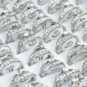 10st-Grosshandel-Mischlose-Damen-Kristall-Edelstahl-Feinen-Silber-Ringe-Schmuck