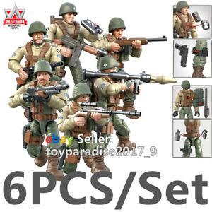 WW2-Military-Soldiers-France-US-Britain-Army-Weapon-Fit-Lego-Minifigures-Mega