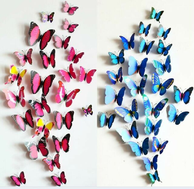 12Pcs 3D Butterfly Wall Magnet Stickers Decals Room Decoration Fridge Decor
