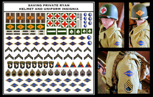 "Dragon 12/"" Scale 1//6 Saving Private Ryan DECALS pour Uniforme et Casque Guerre Mondiale Deux n/'a"