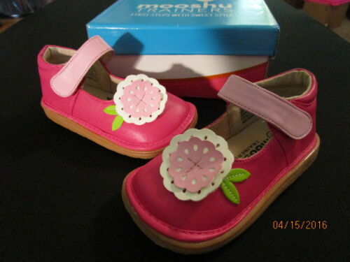 NEW HOT PINK W// PK FLOWER BABY TODDLER LEATHER SHOES VELCRO MARY JANES SQUEEKERS