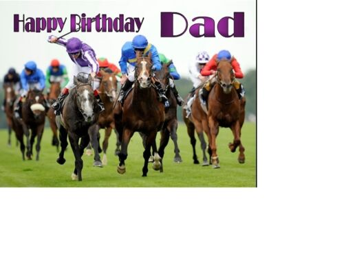 PERSONALISED HORSE RACING A5 BIRTHDAY CARD ANY NAME AGE GREETING OCCASION