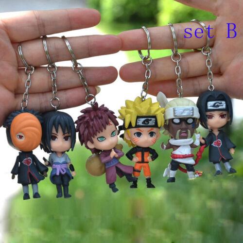 New 6pcs Naruto Chain Key Ring Pendant PVC figure Pendant Anime Cosplay Keychain