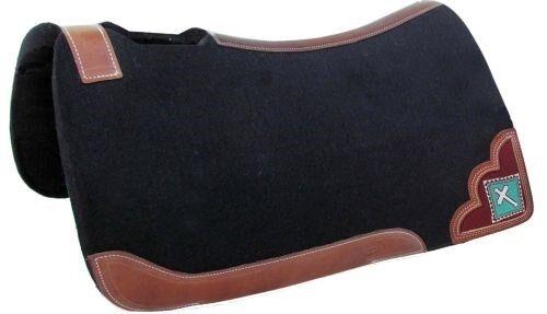 SHOWMAN 32 x31  schwarz Heavy Duty Felt Saddle Pad avec turquoise perles CROIX INCRUSTATION  NEUF