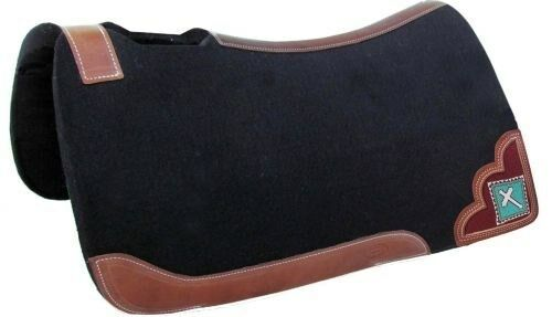 SHOWMAN 32x31 Noir Heavy Duty Felt Saddle Pad avec turquoise perles CROIX INCRUSTATION! NEUF