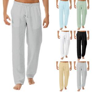 Men/'s Vintage Floral Linen Pants Casual Slim Fit Beach Yoga Long Trousers Slacks