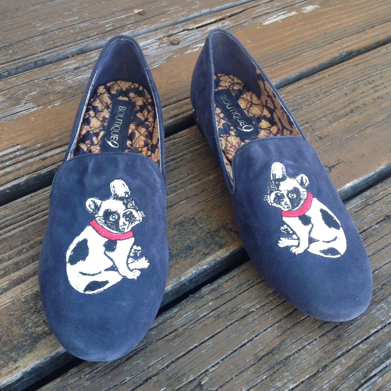 il più alla moda Boutique Boutique Boutique 9 Boston Terrier blu Suede Slip On Flats donna Sz 8 scarpe Stud Heel  prendi l'ultimo