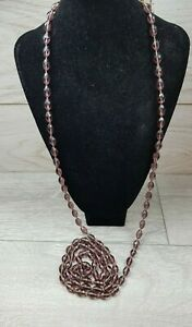 Vintage Art Deco Purple faceted Glass Very Long Flapper Necklace